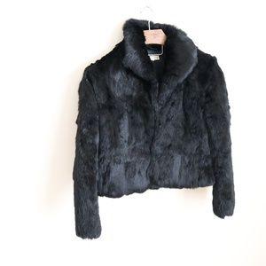 Jackets & Blazers - Black Rabbit fur crop jacket